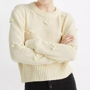 Madewell Dotted Bobble Sweater Cropped Cream XXS